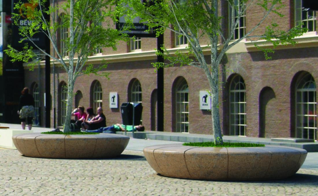 Jardinera banco Olimpo de moderno diseño. Color marrón.