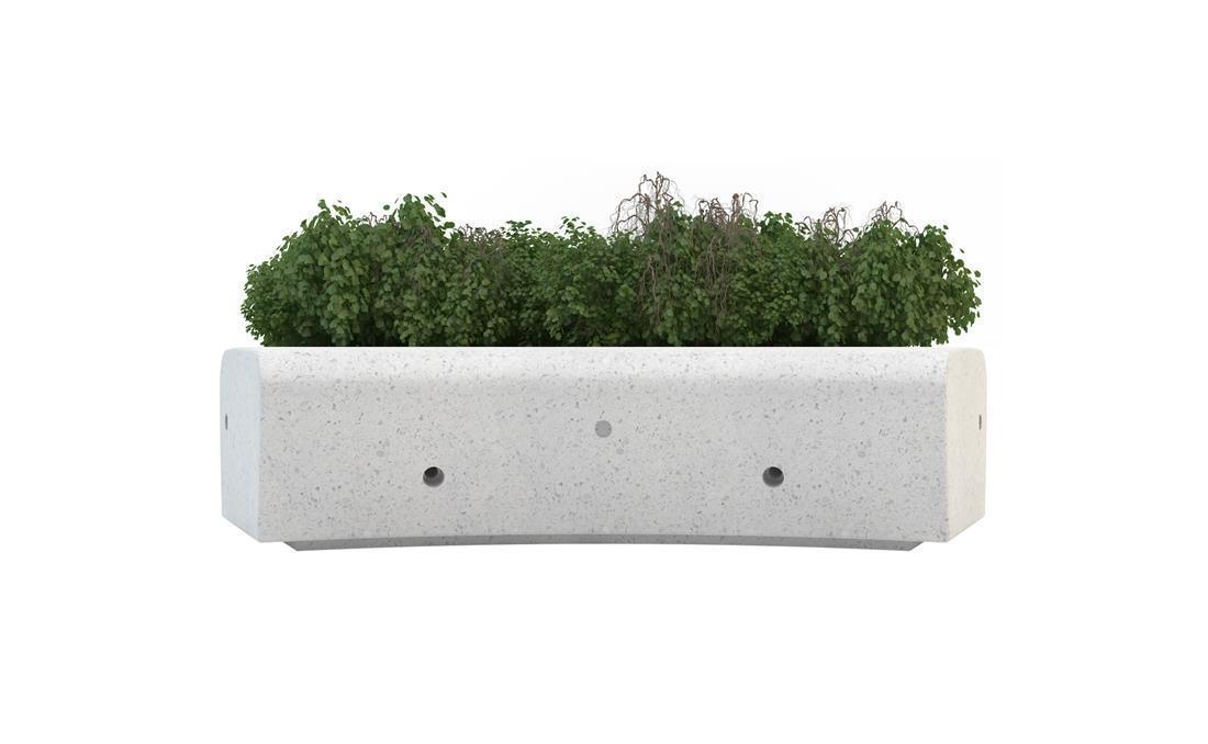 Jardinera Onda en hormigón prefabricado blanca.