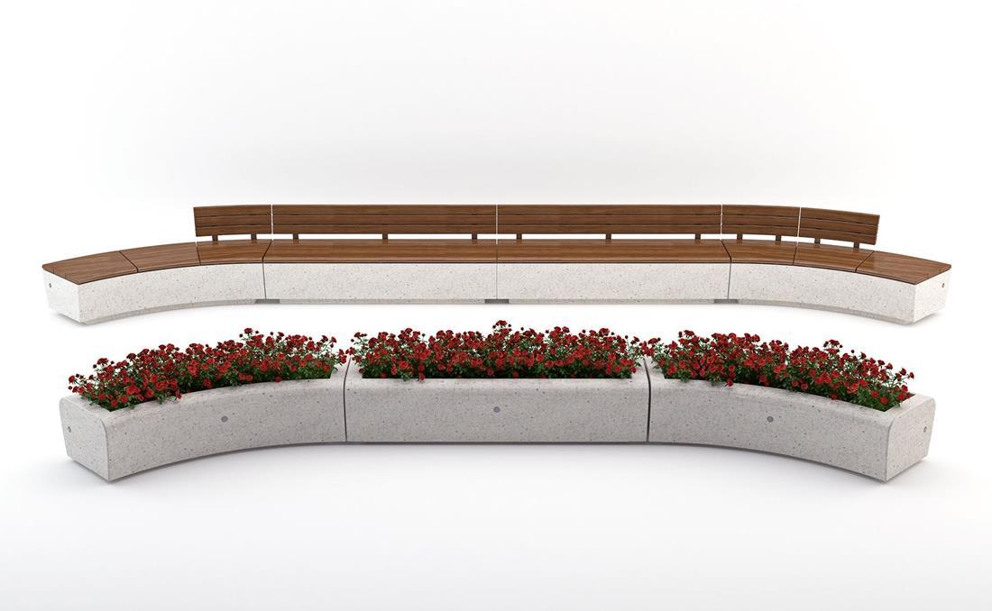 Jardinera Onda en hormigón prefabricado recta y curva.