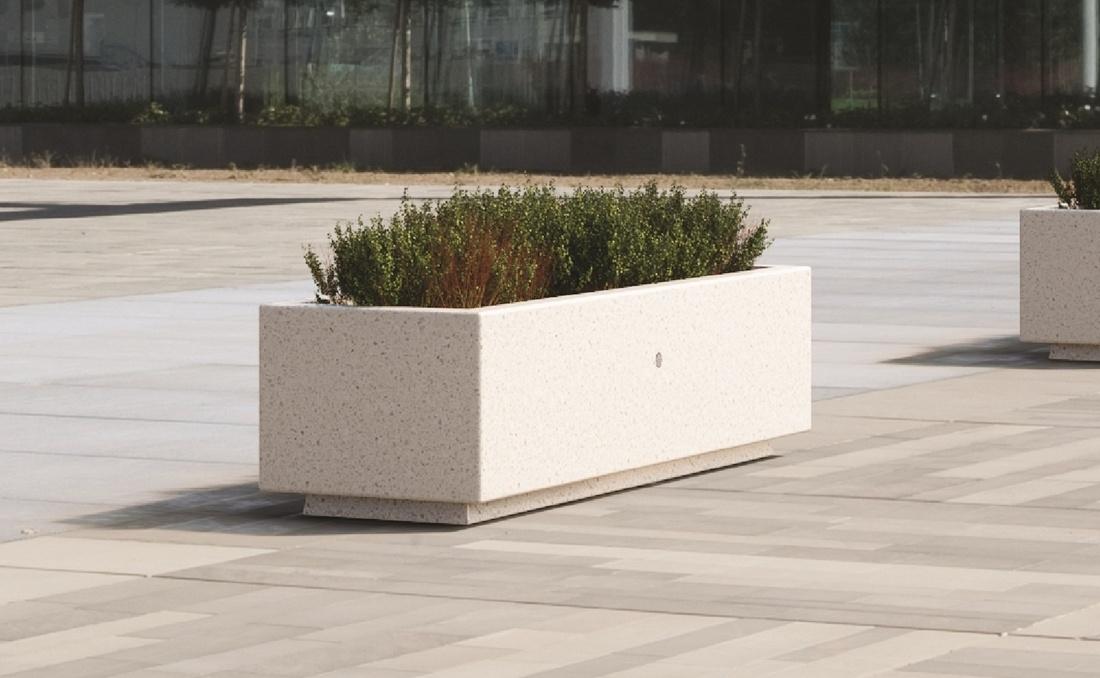 Jardinera de hormigón recta blanca de granito YTER