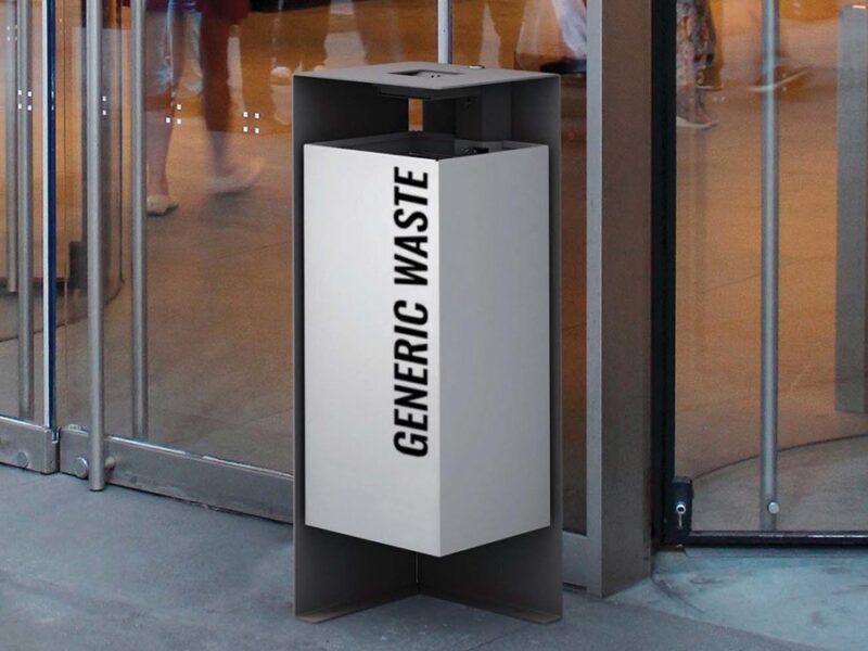 Papelera de exterior alta resistencia para mobiliario urbano YTER