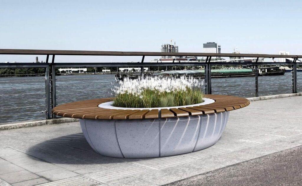 Jardineras alta gama circulares con asiento