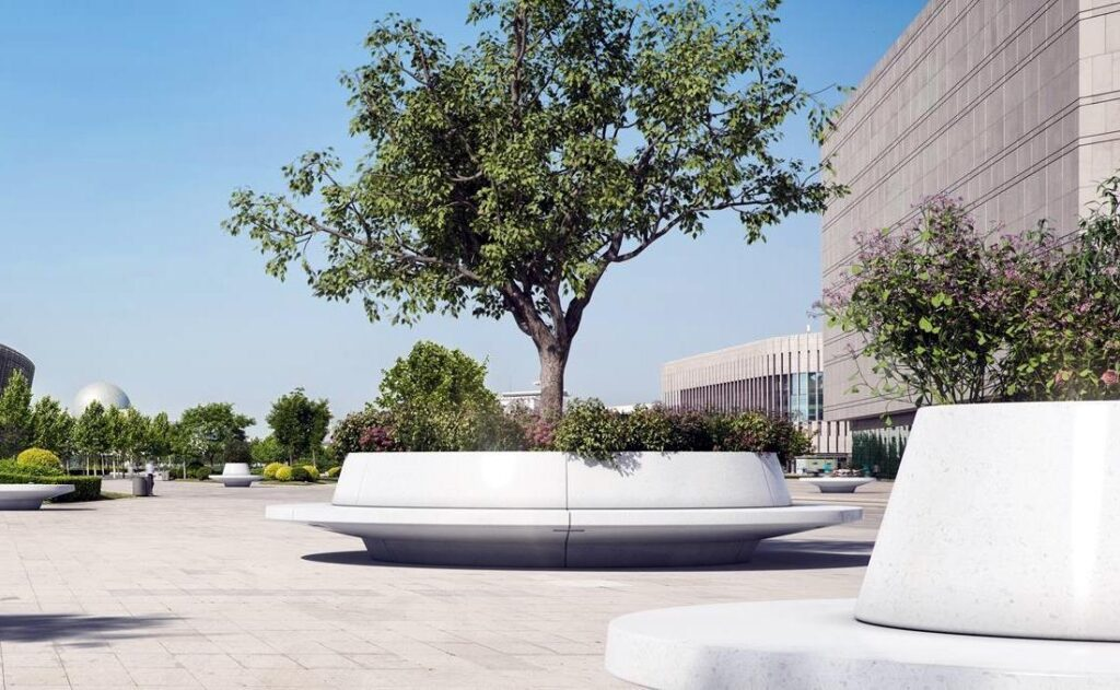 Jardineras pesadas circular con asiento y respaldo